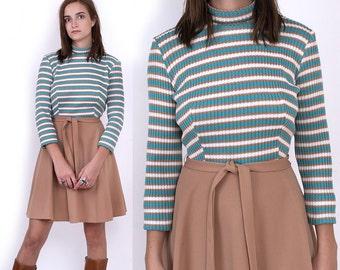 70's Striped KNIT Long Sleeves Mock Turtle Neck Mod Vintage Khaki Turquoise Mini Dress S/M