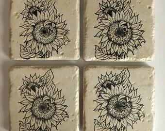Travertine Tile Coasters..Sunflowers & Ladybug..Stone..Set of 4..Gift