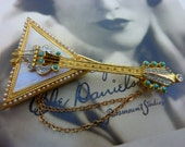 SIGNED  R MANDLE mother of pearl and turquoise vintage musical instrument pin balalaika banjo