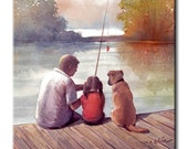 Father and Daughter Fishing with Dog Art Tile Print on Ceramic 4x4 6x6 8x8 8x10 with Hook or with Feet Indoor Use-Fishing,Gift for Daughters