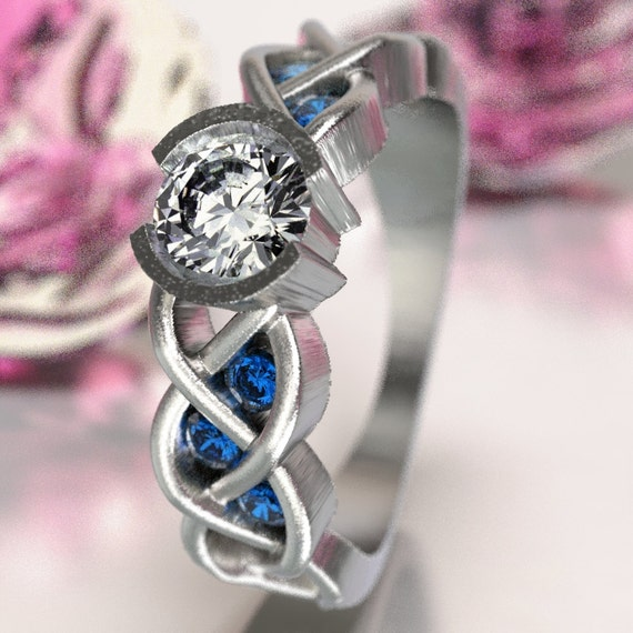 Celtic Sapphire and Moissanite Engagement Ring with Braided Knotwork Design in Sterling Silver, Made in Your Size CR-1006