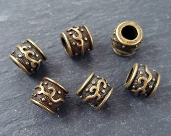 Large Barrel Tube Beads Vine Detailed Tribal Ethnic Antique Bronze Plated Spacers Turkish Jewelry Supplies Findings - 6pc