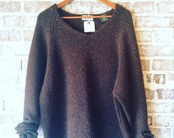 Handknit REI Vintage Brown Sweater Size XL
