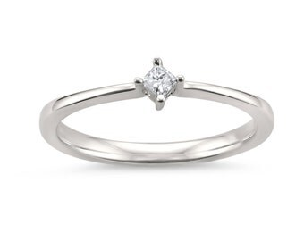14k White Gold Princess-cut Solitaire Diamond Promise Ring (0.07 cttw, H-I, I1-I2)