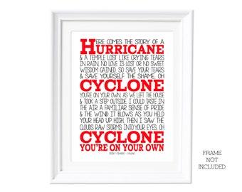 Song Lyrics Sticky Fingers Cyclone ( Print Only) Lyric Art Song Print Music Lyrics Gift Typography Printed Lyrics