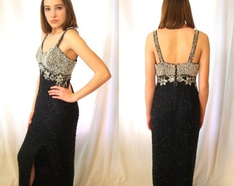 ON SALE Evening gown, formal gown, prom gown,  Black,  glass beaded,  silk, pageant gown, vintage  size 10