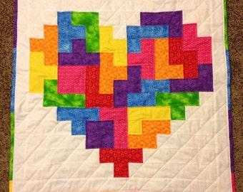 Made to Order - Rainbow Tetris Heart Wall Hanging