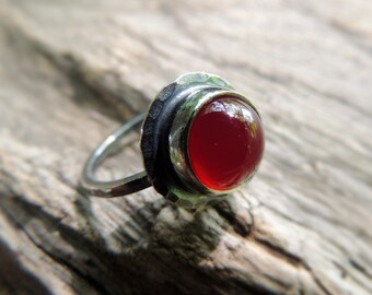 Beautiful Sterling Silver ring, red Agate, summer jewelry, Rings, stacking ring, gemstone ring, Sterling silver, Stackable ring by MARIAELA