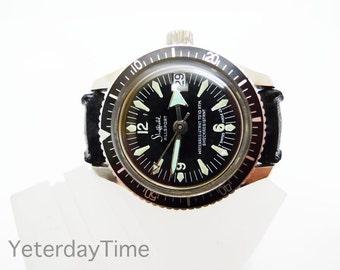 Sheffield Allsports Women's Divers Watch 1960's Black Dial Swiss Made Manual 1 Jewel Movement