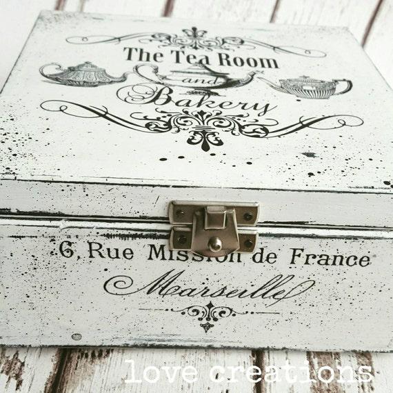 black and white Wooden Decoupage Tea Box/  Cookies Box/ Storage/ Jewellery box, shabby chic keepsake trinket