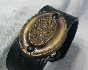 Outlander Thistle Scottish Bracelet Cuff Black Leather Brass Vintage Tony Lama Rare Unique