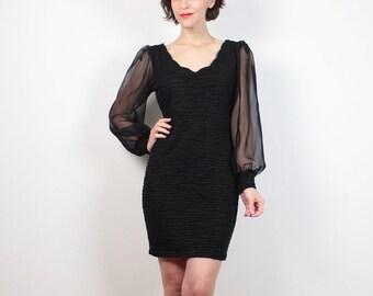 Vintage 80s Dress Little Black Dress Sheer Sleeve Bodycon Mini Dress Bandage Dress 1980s Dress Hipster Textured Party Dress S Small M Medium