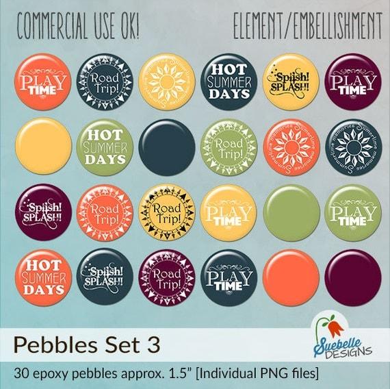 Digital Scrapbooking Embellishments • Pebbles Set 3 • Summertime Fun