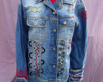 Emerald Dragons Women's Blue Jean Guess Jacket Upcycled Wearable Art Hand Stitched Embroidered Size XXL
