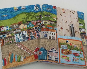 Original handmade  journal diary visual art book cover - A5 size English seaside scenes