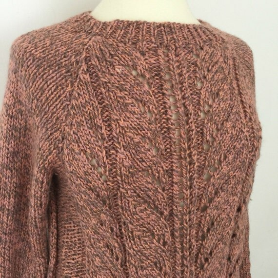 Vintage handknitted sweater long sleeve knit jumper coral gray peach chunky aran rope stitch 70s festival grunge UK 12 max winter hand knit