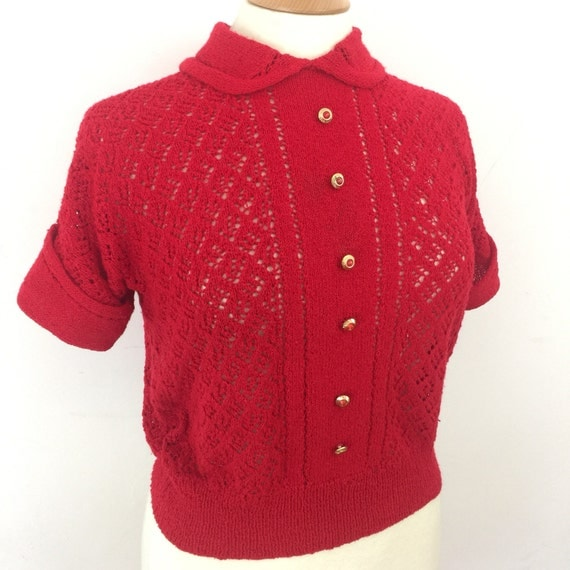 vintage knitted top red hand knit T shirt collar top 1950s style lacy knit shirt lipstick red pin up handmade UK 12 14