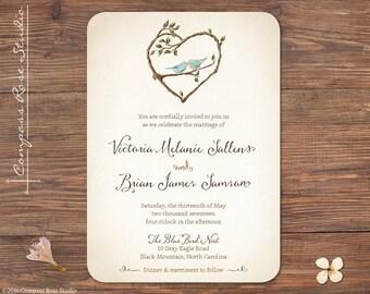 Bluebird Wedding Invitation, Rustic Wedding Invitations, Woodland Invites, Illustrated Watercolor Invitations, Destination, Elopement
