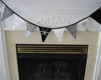Black and White Wedding Pennant Banner