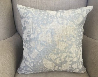 Trocadero Silver on Oatmeal Linen Cushion Cover.