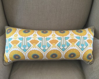 Modern Meadow Sunflower Sunglow Fabric by Joel Dewberry Cushion Cover 30cm x 60cm with an EST French Linen Backing