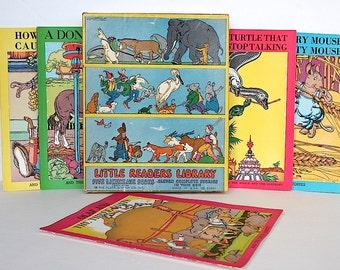 Vintage Children's Book Set - Little Readers Library- Illustrated Children's Books - Nursery Decor - Child's Room Decor -  Children's Art