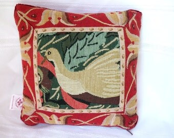 1980s Holiday French Tapestry Pillow Partridge in a Pear Tree