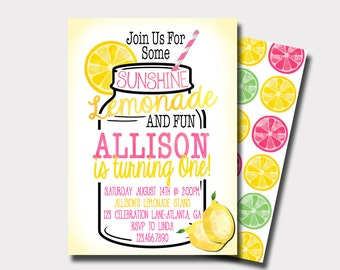 Lemonade Birthday Invitation | Lemonade Stand Birthday Invitation |  Summer Birthday Invitation