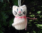 Cream Kitten Ornament, Handmade Knit, Hanging Decoration, Christmas Tree Trim, Rustic Decor, All Year Decoration