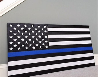 """36"""" x 19"""" Large Hand-Crafted Thin Blue Line Wood American Flag Honoring our Police / Law Enforcement"""