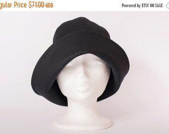 On sale Women winter hat black tweed woolen cloche hat with long flexible brim bucket hat 1920 style