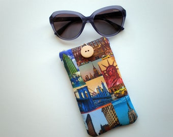 Sunglasses case, eyeglasses sleeve, Case for sunglasses, Quilted eyeglass case, fabric sunglass case, Soft eyeglasses case, New York