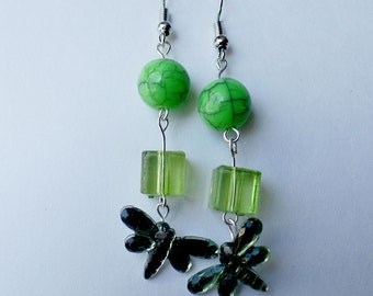 Dragonfly and beaded earrings