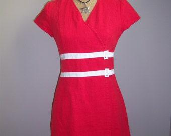 Linen Red Dress. Women Red Dress. Magdalena Sokolowska Dress.