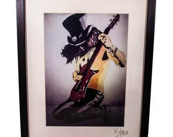 Slash  - Guns N' Roses - Velvet Revolver, signed art canvas print - Framed. From an original painting by Kyle Maclennan/Headon Art