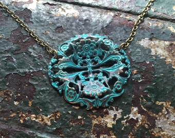 Hand painted teal filagree necklace