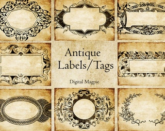 Antique labels printable digital download collage sheet 2.5 x 3.5 aged Victorian tags