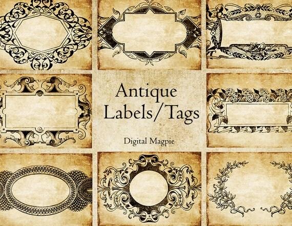 Antique labels printable digital download collage sheet 2.5 x