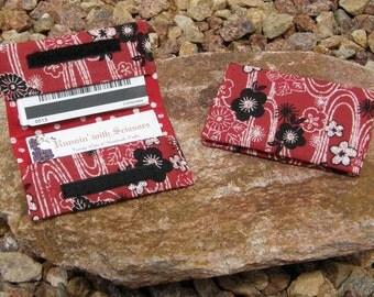 Black and Red Floral Business Cardholder/Mini-Wallet