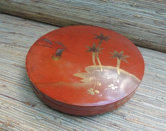 Vintage Large Asian Lacquer Box Red, Black and Gold
