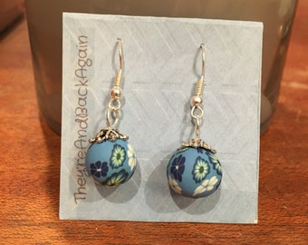 White&Blue Flowers Clay Bead Earrings