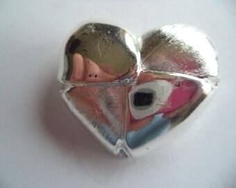 Vintage Signed Danecraft Small Silvertone Textured Heart Brooch/Pin