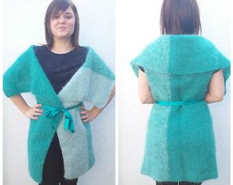 Teal mohair sweater, knit mohair sweater, turquoise sweater, knit teal sweater, ombre teal sweater, sea foam sweater, mohair sweater