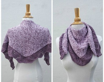 Purple cotton shawl, purple wrap, knit purple wrap, knit purple shawl, cotton shawl, cotton wrap, triangle scarf, knit summer scarf, OOAK