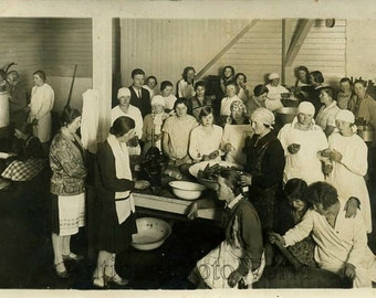 Women cooking antique culinary photo