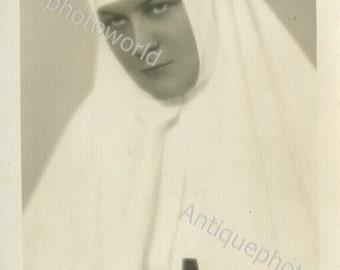 Pretty nurse in Red Cross uniform antique photo