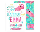 Flamingo Pool Party Birthday Invitation DIGITAL FILE Summer Birthday Pool Party Water Theme Splish Splash Summertime Party Pineapple Invite