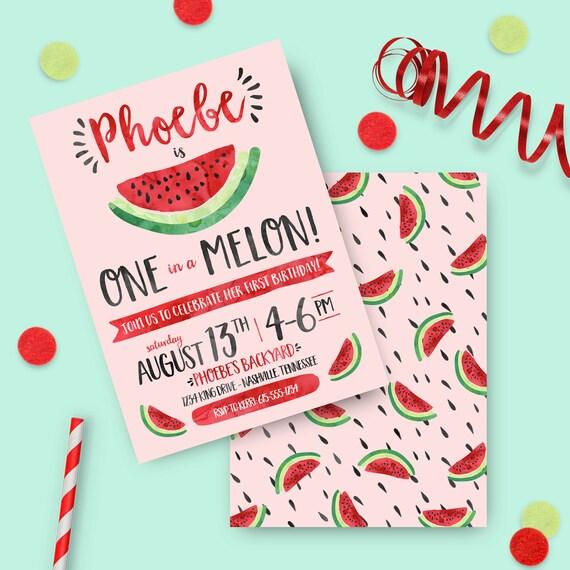 Watermelon Birthday Invitation Printed Invites One In A