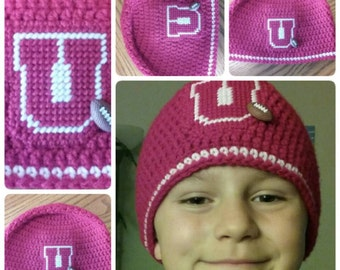 Utah Utes Inspired, Crochet, Beanie, Hat, Red, Child, Youth (20 Inch Size)
