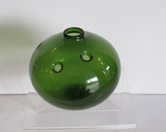 "Michael Bang for Holmegaard ""Hule"" Vase Green Glass Unique MODERN AND MINT"